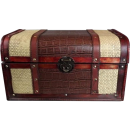 Średni drewniany kufer brązowo-kremowy