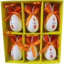 Komplet 6 jajek zajączków do zawieszenia w boksie w kolorze pomarańczowym
