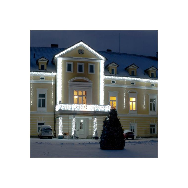 Sznur lampek choinkowych 80 LED z timerem na baterie , zewnętrzne, zimny biały