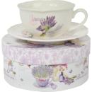 Komplet ceramiczny filiżanka z talerzykiem z kwiatami w wazonie w prezentowym kartoniku