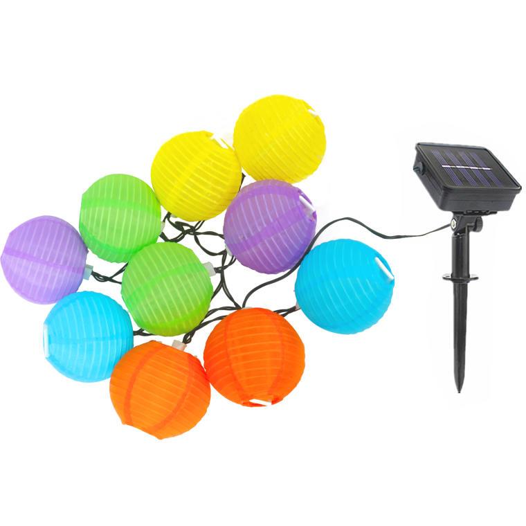 SOLARNE LAMPIONY NA SZNURZE 10 LED KOLOROWE