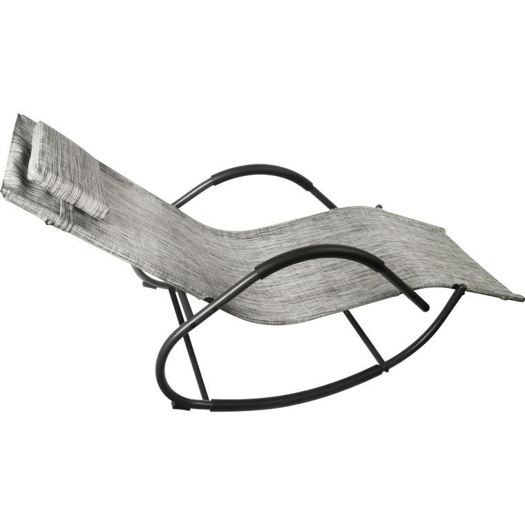Leżak ogrodowy bujany szary