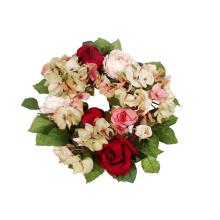 Wianek z hortensji i róż w kolorze bordowo-różowym 20 cm