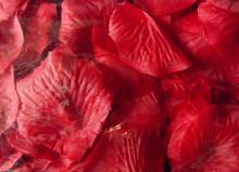 Płatki róż z materiału zapakowane w woreczek w kolorze czerwonym