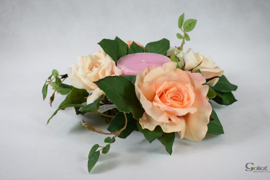 Wianek z beżowych  róż [WLA58444]