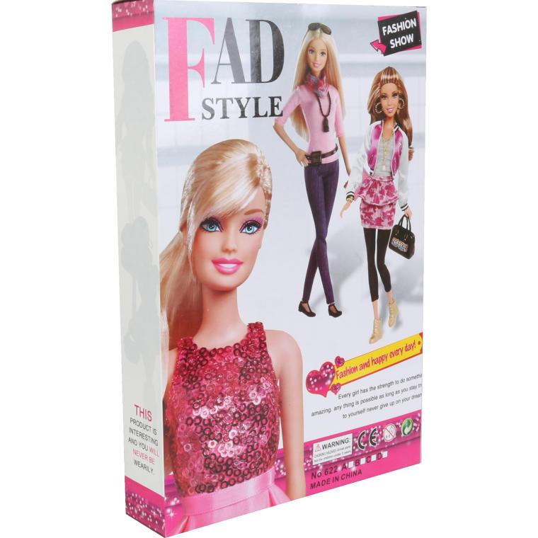 Lalka w fioletowej sukience w zestawie z 8 parami butów