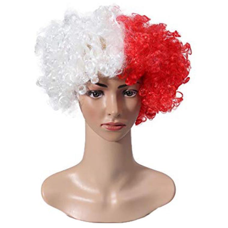 Peruka Afro Polska Biało-Czerwoni