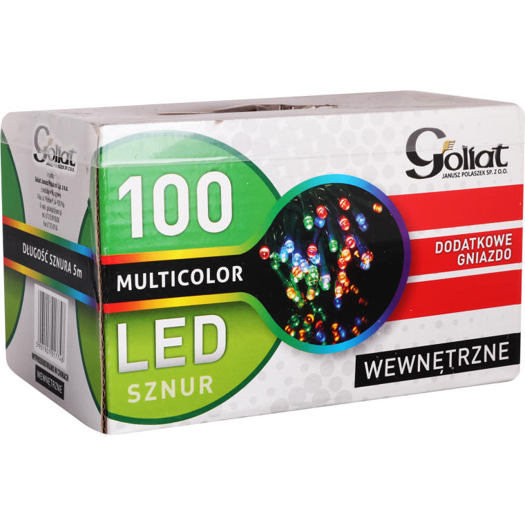 Sznur lampek choinkowych 100LED z dod. gniazdem wewnętrzne multicolor