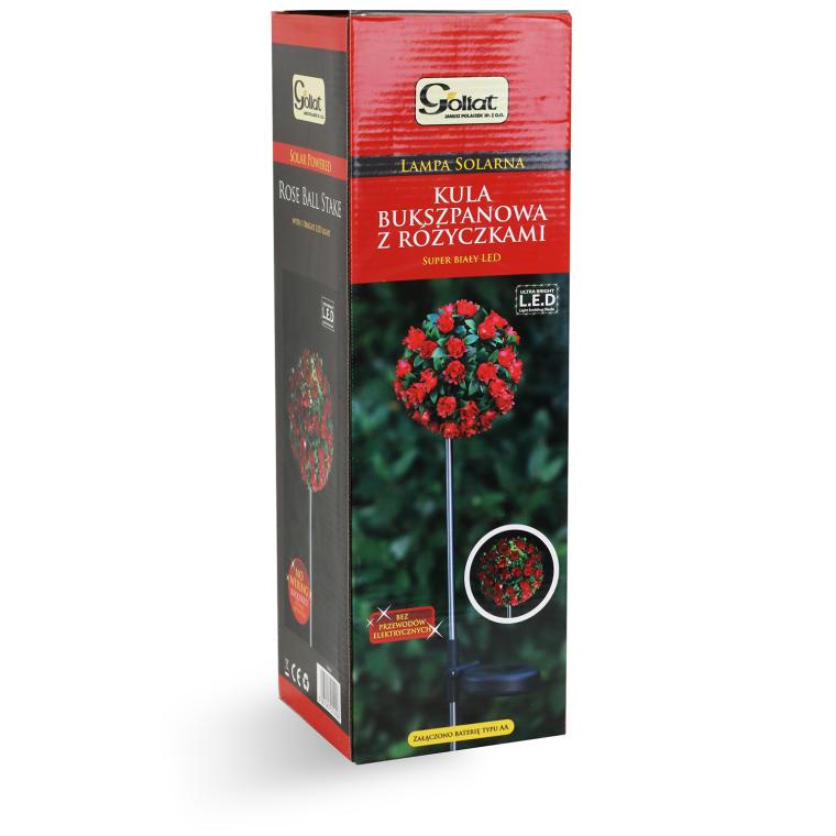 Solarna kula bukszpanowa z różyczkami