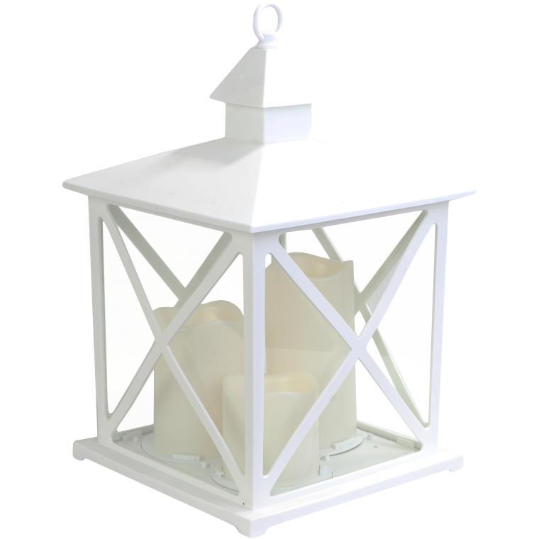 Latarnia z 3 świecami LED biała