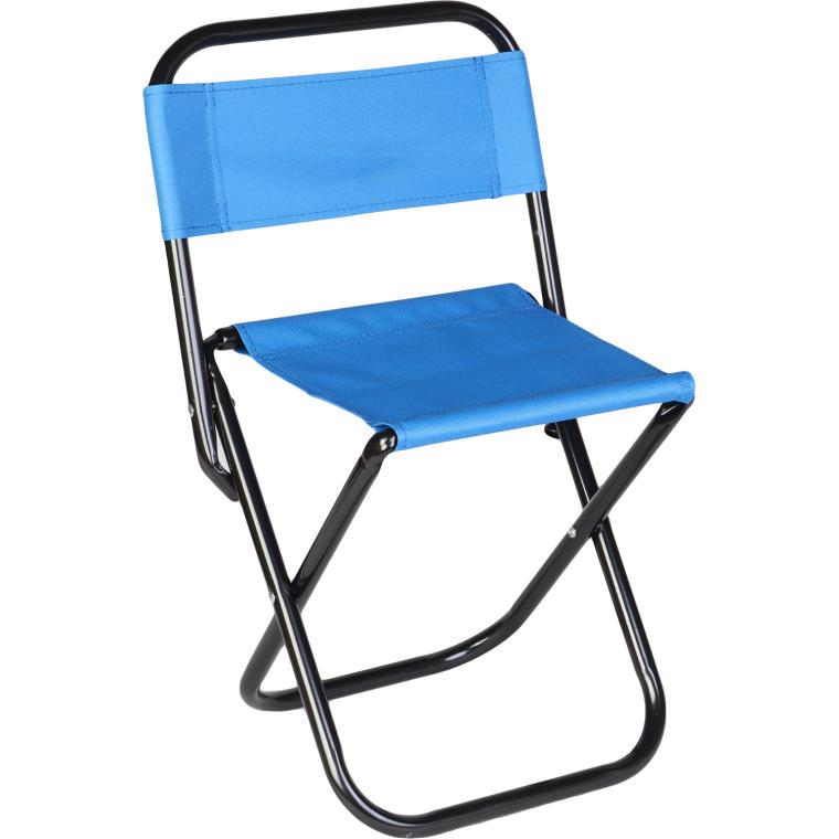 Krzesło turystyczne z oparciem niebieskie