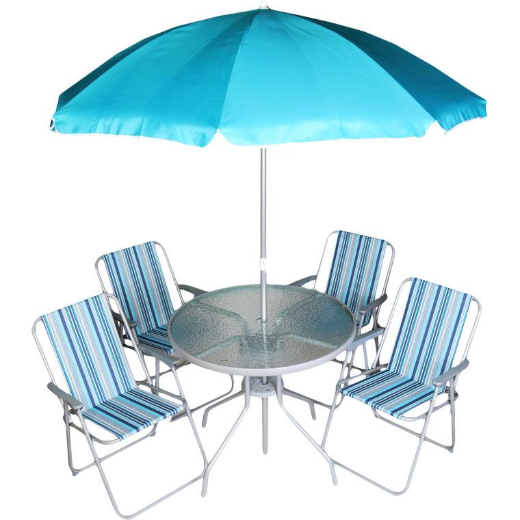 Zestaw mebli 4+1 z parasolem