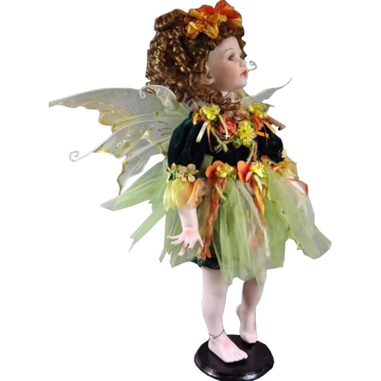 Lalka elf zielono-ruda stojąca 60 cm