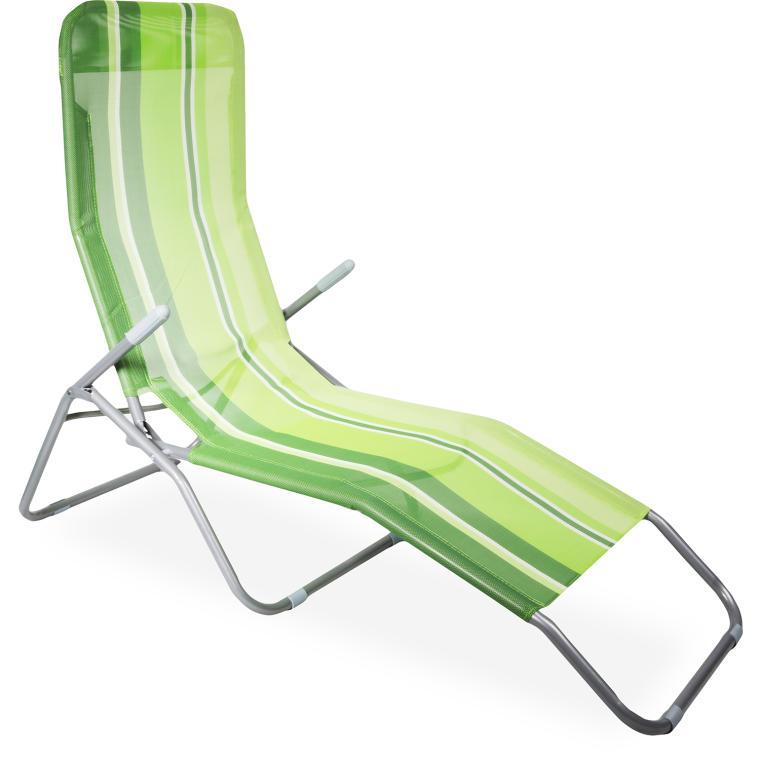 Leżak ogrodowy zielony w paski