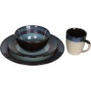 Zastawa stołowa ceramiczna brązowo-kremowo-niebieska
