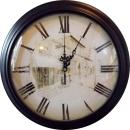 Zegar wiszący w czarnej ramie budynek 34 cm