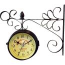 Zegar dwustronny wiszący na ramieniu z metaloplastyki 30x24 cm